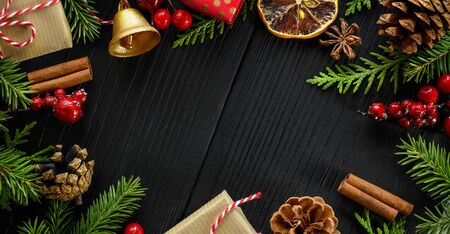 Christmas composition banner or background. Banco de Imagens