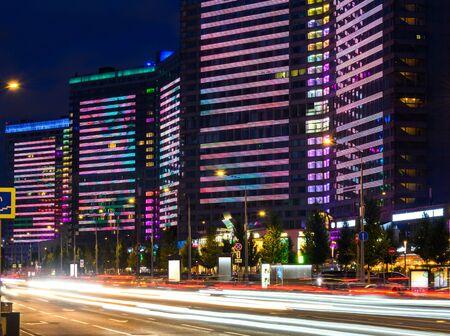 New Arbat street in Moscow, Russia at night, popular landmark. Banco de Imagens