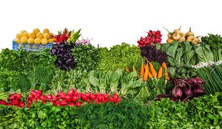 Fresh organic vegetables on the farmers market isolated on white background Banco de Imagens