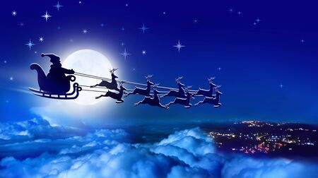 Santa Claus in a sleigh and reindeer sled flies over Earth on background of full moon Imagens - 127616854