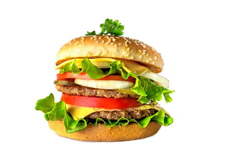 Delicious double tasty hamburger isolated on white background Imagens - 128592161