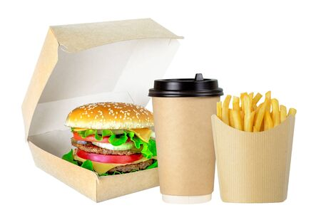 Tasty Hamburger, fries and cofee in cardboard package isolated on a white background
