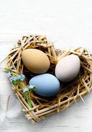 Easter background with Easter eggs in nest Banco de Imagens - 128592218