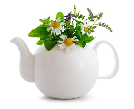 Herbal tea concept isolated on white.