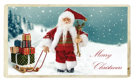 Marry Christmas - Christmas vintage Greeting card. Santa Claus with gift boxes on the sleigh