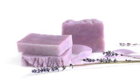 Handmade lavender bars of soap on white Banco de Imagens