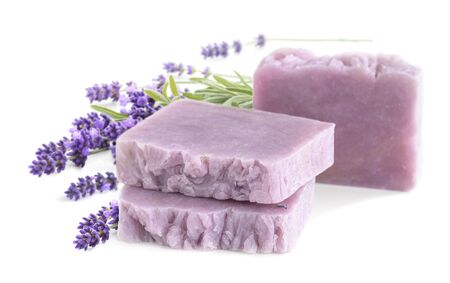 Homemade lavender bars of soap with lavender isolated on white Banco de Imagens - 128613251