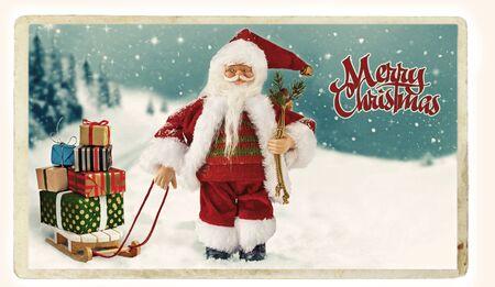 Christmas vintage Greeting card with Santa. Imagens - 128613254