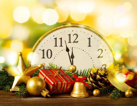Retro style clock with christmas decorations.
