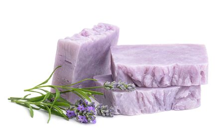Homemade lilac lavender soaps with fresh lavender flowers