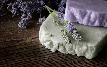 Handmade Soap with lavender flowers on wooden board. Stok Fotoğraf
