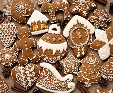 Homemade christmas cookies on brown paper