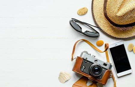 Summer vacation flat lay background