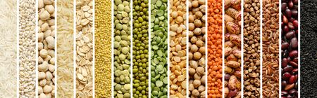 Collage of Cereals and legumes food background
