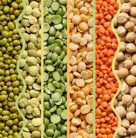 Collage of legumes food background