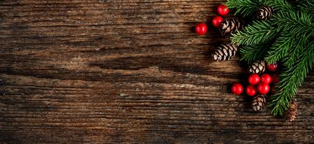 Christmas tree branch on old wooden planks background