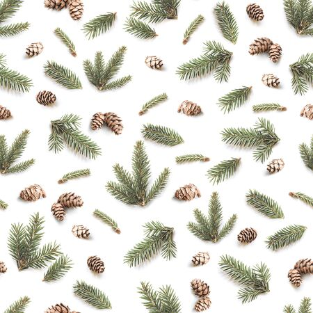 Christmas seamless pattern of Fir branches and pine cones. Winter pattern on white background.