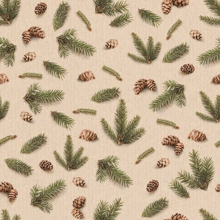 Christmas seamless pattern of Fir branches and pine cones. Winter pattern on kraft paper background. 版權商用圖片
