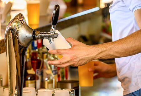 Bartender pours the cold beer into a glass from the tap.