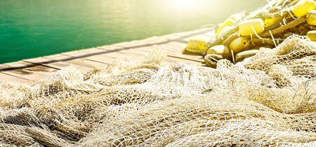 Fishing net on the pier 版權商用圖片