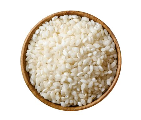 Dry white rice isolated on white background.