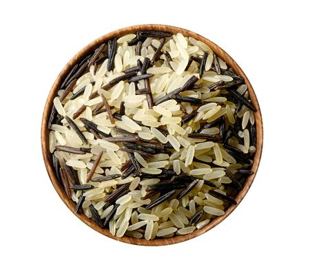 Mixed rice in wooden bowl isolated on white. 版權商用圖片