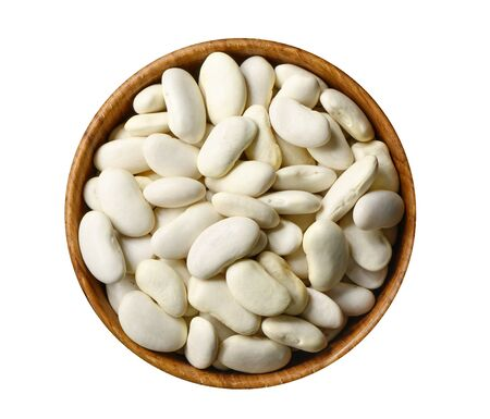 Dry white beans in wooden bowl isolated on white 版權商用圖片 - 133133105