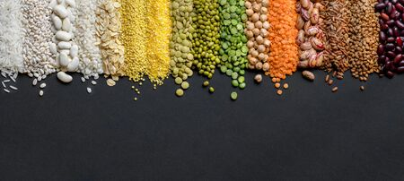 Cereals and legumes food Panoramic background in high resolution. 版權商用圖片 - 133782486