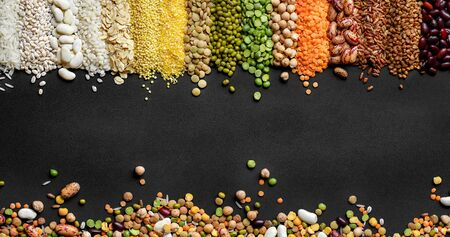 Dried Cereals and legumes colorful background 版權商用圖片
