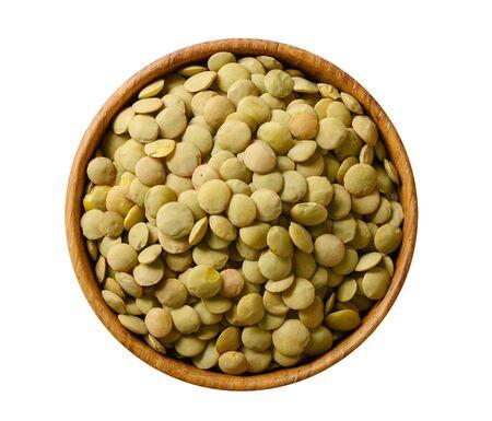 Bowl of green lentil isolated on white background 版權商用圖片