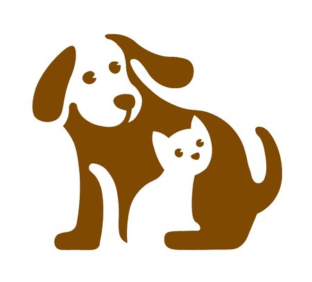 Vector image of dog and cat logo on white 版權商用圖片 - 133782591