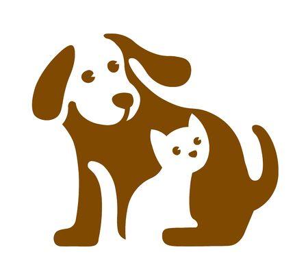 Vektorbild des Hunde- und Katzenlogos auf Weiß Logo