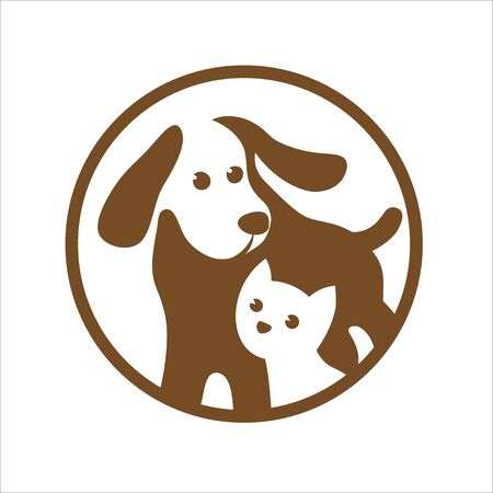 Dog and cat pets shop logo on white