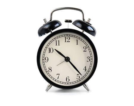 Black old fashioned alarm clock isolated on white background Reklamní fotografie