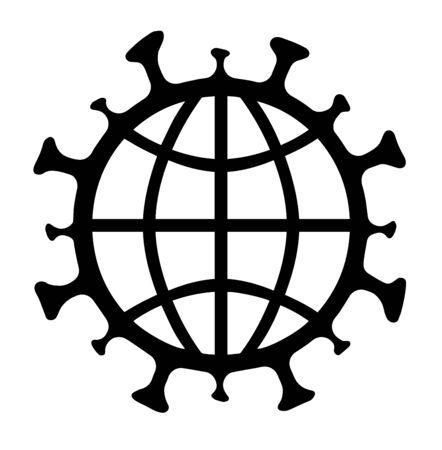 Coronavirus, COVID-19, Symbol, logo, icon, with earth symbol isolated on white. Vector illustration. Çizim