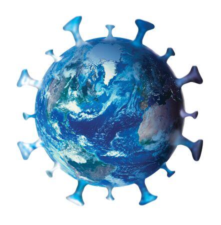 Coronavirus, COVID-19, Symbol, logo, icon, with earth planet isolated on white. Global coronavirus infection concept. Stock Photo