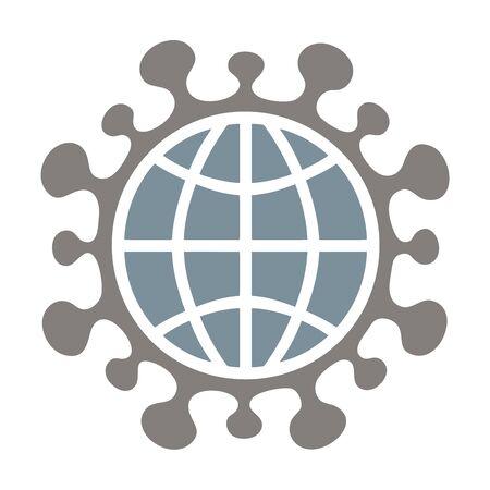 Coronavirus, COVID-19, Symbol, logo, icon, with earth symbol isolated on white. Global coronavirus infection concept. Çizim