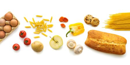 Healthy Grocery food on white background. Various food products for banner, online shop background. Top view. Flat lay. Banco de Imagens
