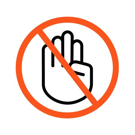 Do not touch sign symbol logo. Contactless delivery Imagens - 144532245