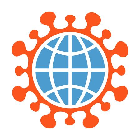 Coronavirus sign COVID-19, Symbol, icon, with earth globe isolated on white. Global coronavirus infection concept.