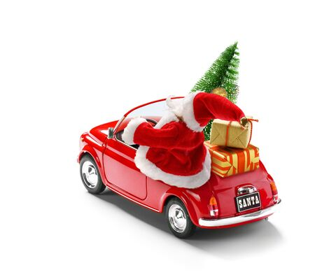 Santa Claus in red car delivering gift boxes and Christmas tree isolated on white.