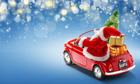 Santa Claus driving red car with gift boxes and Christmas tree on blue background with bokeh lights