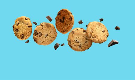 Chocolate chip cookies flying or falling over turquoise blue background. Imagens