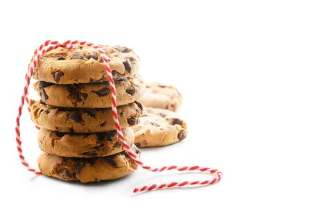 Delicious Chocolate chips cookies with rope on a white background.