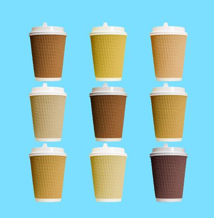 Paper coffee cups with white lid collage on blue background.
