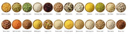 Collection of various cereals and legumes: rice,peas, lentils, beans haricot millet buckwheat chickpea isolated on white.