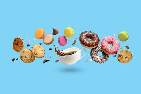 Sweet bakery, pastries, confectionery concept background, banner. Copy space. Imagens