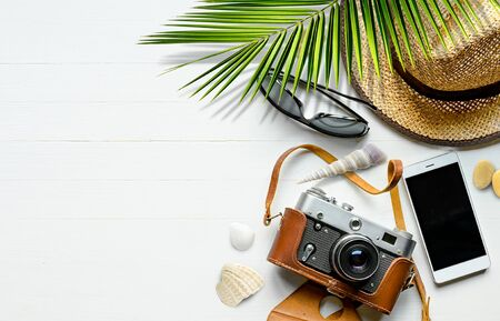 Summer vacation background with traveler accessories. Top view Reklamní fotografie