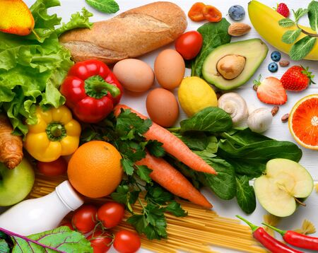 Healthy food background. Various fruits and vegetables background.. Copy space. Shopping food in supermarket