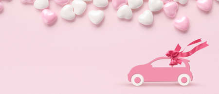 Pink car with gift bow on a pink background with hearts